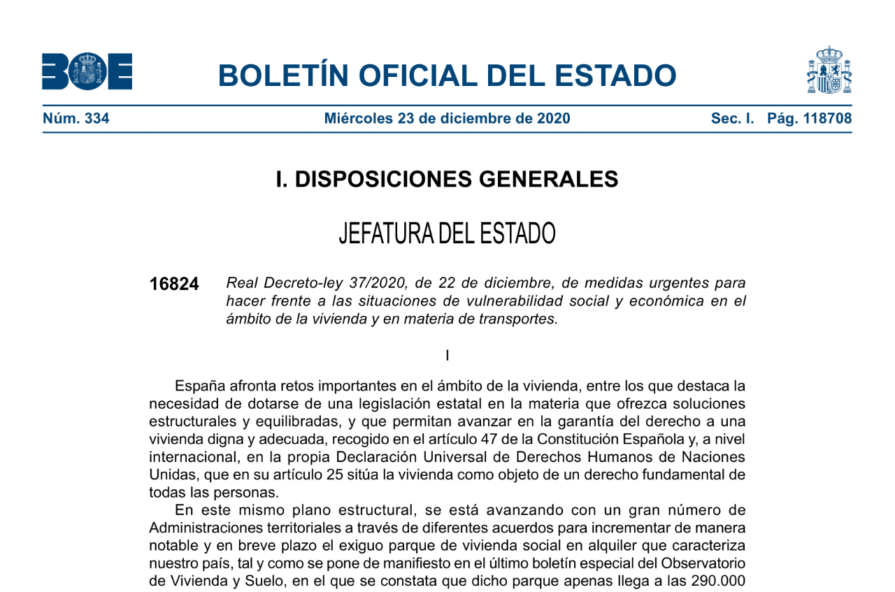 Real Decreto-ley 37/2020, de 22 de diciembre (situaciones de vulnerabilidad).